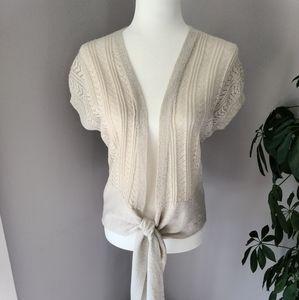 Carducci woven shimmer short sleeve cardigan/ top